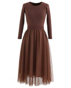 Elasticated Waist Knit Splice Mesh Dress in Brown