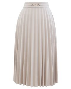 Horsebit Trims Wool-Blend Pleated Midi Skirt in Cream