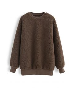 Sherpa Oversized Pullover in Brown