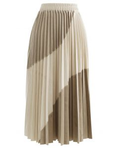 Velvet Color Blocked Pleated Midi Skirt in Light Tan