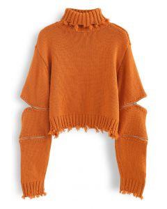 Zipper Sleeves Turtleneck Crop Knit Sweater in Orange