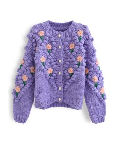 Stitch Floral Diamond Pom-Pom Hand Knit Cardigan in Purple