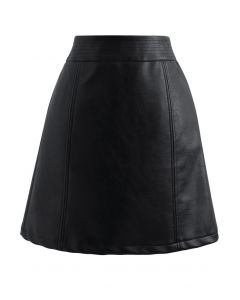 Seamed Waist Faux Leather Bud Mini Skirt in Black