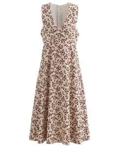 Embossed Floret V-Neck Sleeveless Dress in Sand