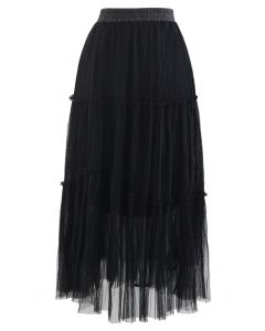 Soft Mesh Ruffle Detail Pleated Skirt in Black