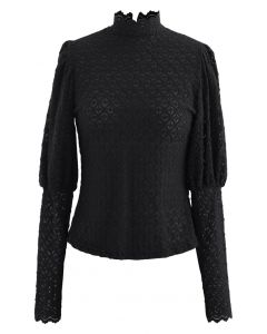 Full Lace Puff Sleeves Top in Black