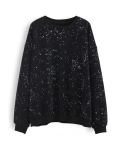 Spotted Fleece Sweatshirt in Black