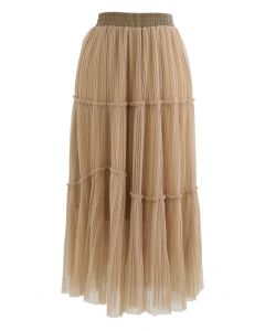 Soft Mesh Ruffle Detail Pleated Skirt in Light Tan