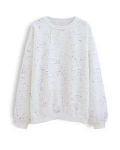 Spotted Fleece Sweatshirt in White