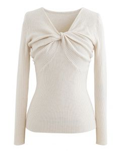 Knotted Front Fitted Knit Top in Ivory