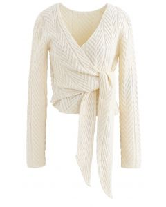 Plunging Wrap Tie Crop Knit Sweater in Cream