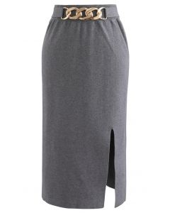 Golden Chain Waist Slit Pencil Knit Skirt in Grey