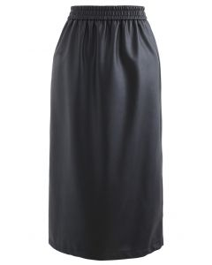 Sleek Soft Faux Leather Pencil Midi Skirt in Black