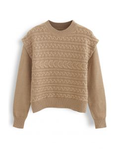 Crew Neck Braid Knit Sweater in Camel