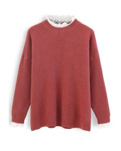 Lacy Details Fuzzy Knit Sweater in Red
