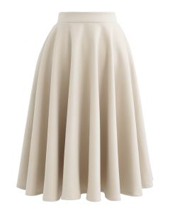 High Waisted Wool-Blend Flare Skirt in Cream