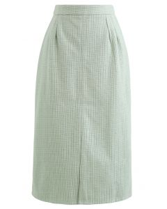 Vent Hem Houndstooth Wool-Blend Pencil Skirt in Mint
