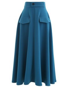 Dual Fake Pockets Buttoned Flare Skirt in Indigo