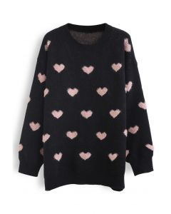 Pinky Heart Oversized Fuzzy Knit Sweater