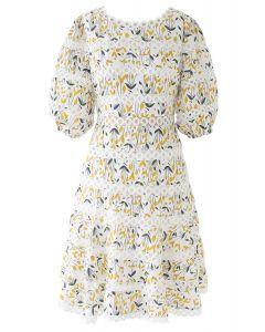 Yellow Posy Circle Crochet Midi Dress