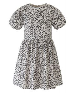 Short-Sleeved Leopard Print Dolly Dress