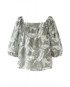 Square Neck Plantain Leaves Dolly Top in Olive