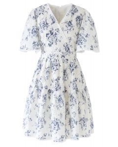 Flare Sleeves Floral Print Embroidery Eyelet Dress