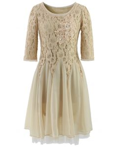 Ivory Pearly Decor Mid-Sleeve Lace Dress
