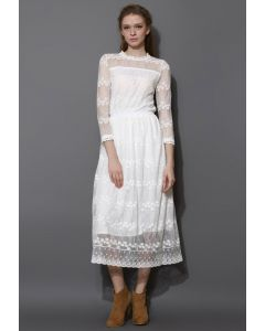 Full of Grace White Lace Mesh Maxi Dress