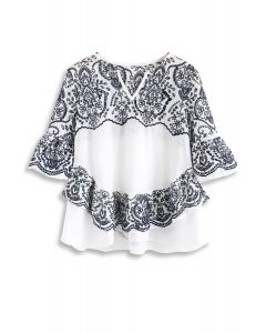 Vine's Fascination Embroidered Top in Navy