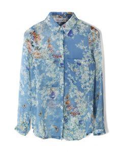 Vintage Floral Pocket Semi-Sheer Shirt