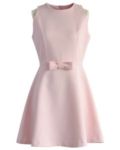 Elate Pink Dress with Bow Decor
