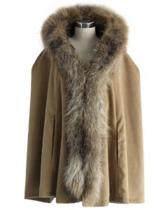 Luxury Khaki Faux Fur Hooded Cape
