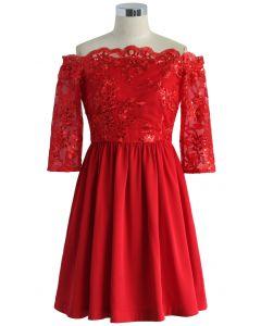Festive Red Embellished Off-shoulder Dress