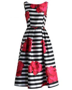 Flirty Roses Striped Prom Dress