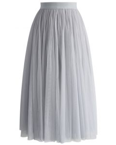 Ethereal Tulle Mesh Midi Skirt in Grey