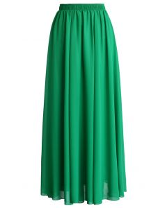 Emerald Green Chiffon Maxi Skirt