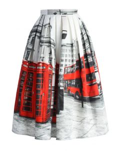 Oh London Pleated Midi Skirt