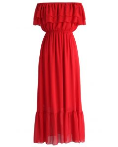 Blissful Frilling Off-shoulder Maxi Dress in Red