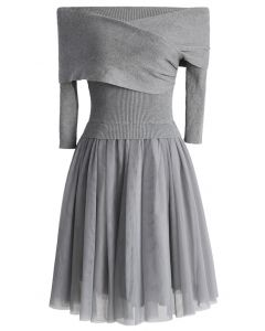 Wrap in Grace Off-shoulder Tulle Dress in Grey
