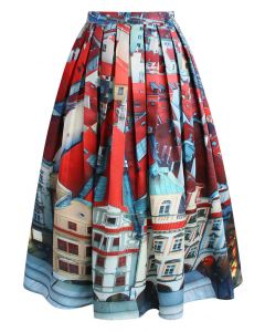 Pretty Panoramic Midi Skirt