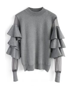 Pure Pleasure Smock Top with Tiered Flare Sleeves in Grey