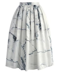 Marble Chic Printed Midi Skirt