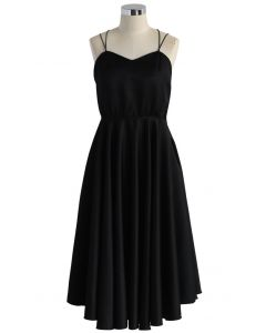 Luxurious Cross-strap Open Back Dress in Black