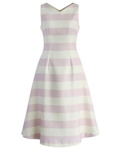 Fluttering Stripes Midi Dress in Pink
