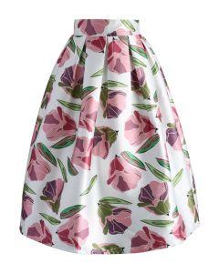 Tulip Wonderland A-line Midi Skirt