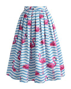 Flamboyantly Flamingo Printed Midi Skirt