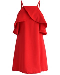 Sylphlike Red Cold-shoulder Dress