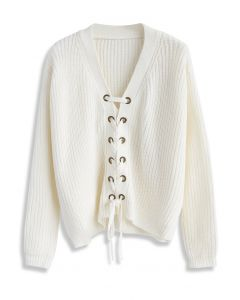 Lace-up Rhythm Sweater in White