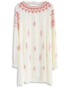 Boho Evocation Embroidered Dress in Beige